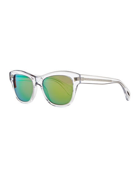 Image 1 of 1: Sofee 53mm Polarized Sunglasses, Clear/Mirror Green