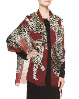 Roberto Cavalli Leopard Printed Silk Wrap, Burgundy/Multi