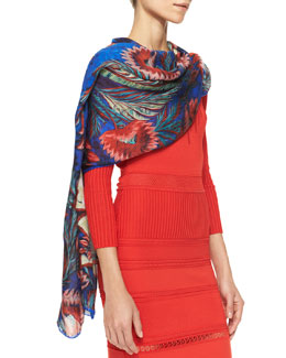 Roberto Cavalli Psychedelic-Print Wrap, Red Pattern