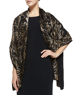 Roberto Cavalli Silk and Velvet Wrap