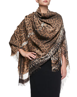 Roberto Cavalli Leopard-Print Wool-Blend Wrap, Natural