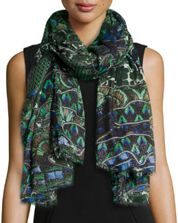 Roberto Cavalli Shimmery Printed Cashmere-Blend Wrap, Turquoise/Green