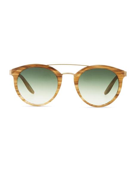Dalziel Round Sunglasses with Metal Bar, Horn