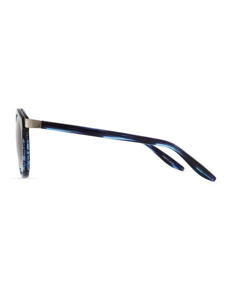 Dalziel Round Sunglasses with Metal Bar, Midnight