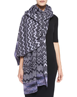 Missoni Zigzag Knit Stole, Purple