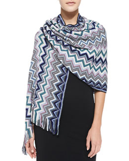 Missoni Wool Zigzag Knit Stole, Blue/Green