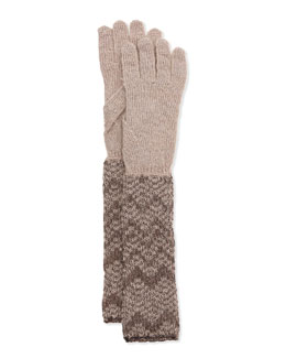 Missoni Metallic Zigzag Knit Gloves, Silver