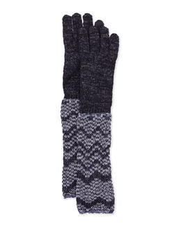Missoni Metallic Zigzag Knit Gloves, Purple