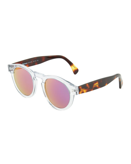 Clear Leonard Round Sunglasses with Pink Mirror Lens