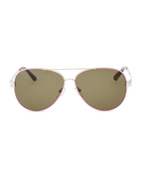 Metal Aviator Sunglasses with Rockstud Temples, Fuchsia