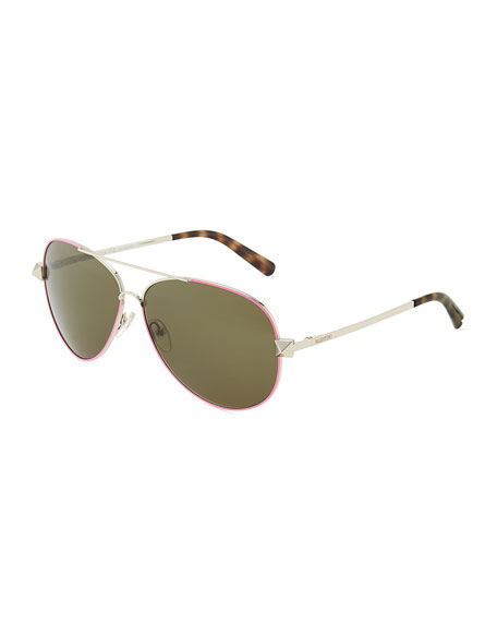 Metal Aviator Sunglasses with Rockstud Temples, Fuchsia