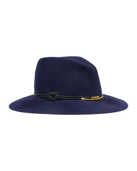 Bianca Felt Porkpie Hat, Navy