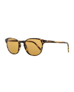 Oliver Peoples Fairmount Sun Plastic Square Sunglasses, Light Brown Tortoise