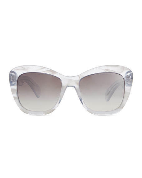 Marbled Square Emmy Sunglasses, Clear