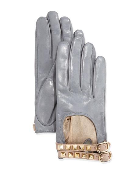 Rockstud Napa Driving Gloves, Gray