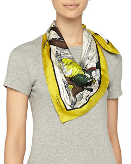 Burberry Prorsum Weather Scene Printed Silk Scarf, Yellow Iris