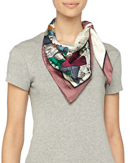 Burberry Prorsum Weather Scene Printed Silk Scarf, Cherry