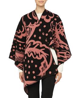 Burberry Prorsum Thistle Motif Blanket Poncho, Cameo Pink