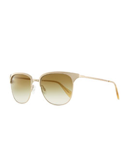 Oliver Peoples Leiana Metal Half-Rim Sunglasses, Gold