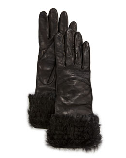 Diane von Furstenberg Rabbit-Cuff Leather Gloves, Black