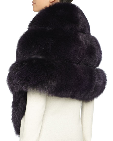 Fox Fur Stole with Leather Insets, Purple
