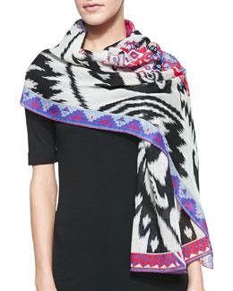 Emilio Pucci Ikat-Print Wool Scarf, White/Multi