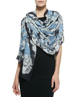 Erdem Lace-Print Stole, Black/White