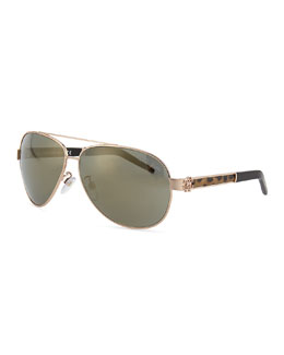 Roberto Cavalli Gorgena Leopard Rose Golden Aviator Sunglasses
