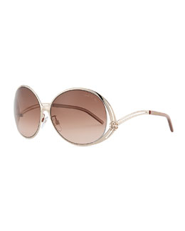 Roberto Cavalli Round Metal Sunglasses, Golden