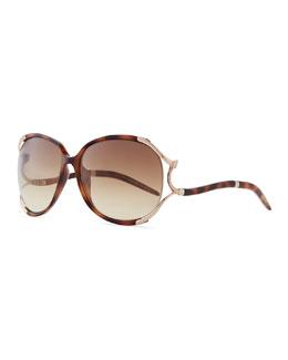 Roberto Cavalli Hamal Plastic/Metal Sunglasses with Snake, Havana