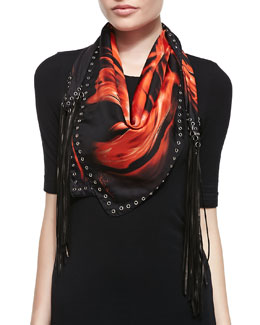 Roberto Cavalli Printed Silk Twill Scarf with Leather Fringe, Fire Red