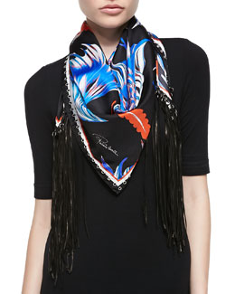 Roberto Cavalli Printed Silk Twill Scarf with Leather Fringe, Blue