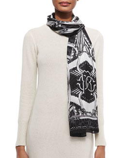 Roberto Cavalli Printed Lightweight Silk Satin Scarf, Black/White