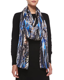 Roberto Cavalli Printed Silk Scarf, Blue/Black