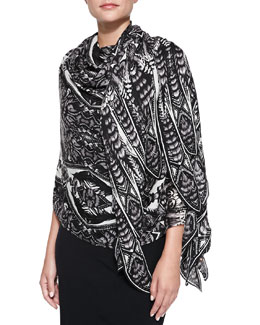 Roberto Cavalli Printed Cashmere Pashmina Wrap, Black/White
