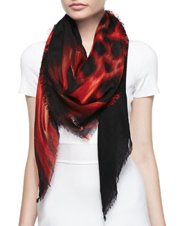 Roberto Cavalli Cashmere Printed Gauze Scarf, Fire Red