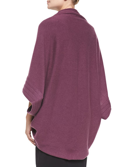 Cashmere Cardigan with Quilted Sleeves, Plum