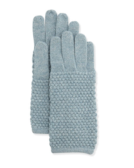 Pearl-Stitch Metallic Knit Gloves, Dreamblue/Silver