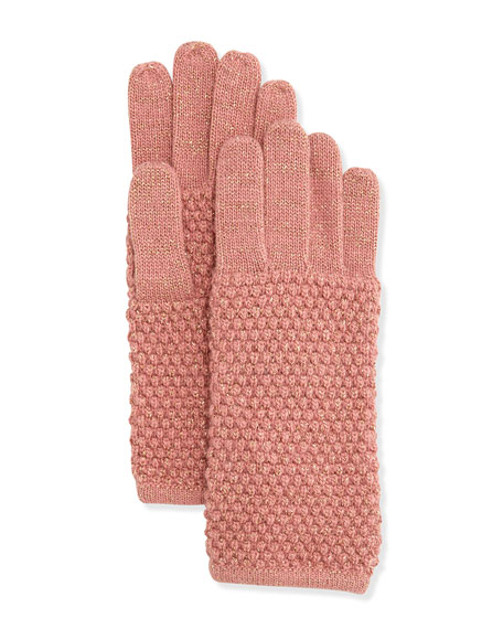 Pearl-Stitch Metallic Knit Gloves, Canyon/Milagold