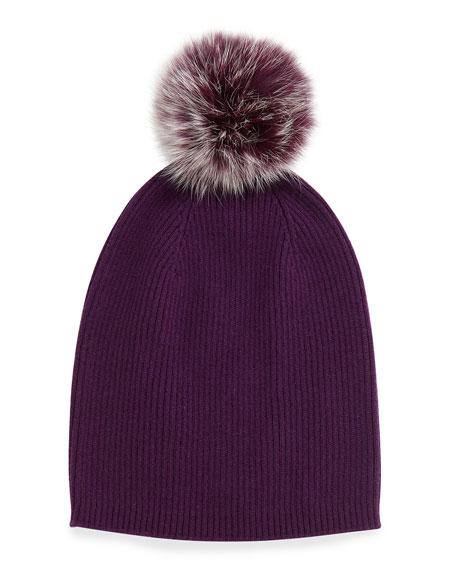 Cashmere Fur-Pom Hat, Eggplant