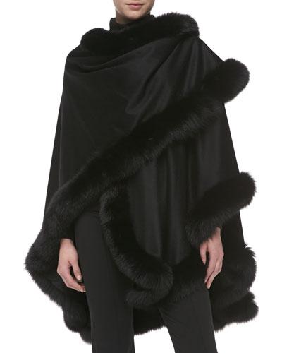 Fox Fur-Trimmed Cashmere U-Cape, Black