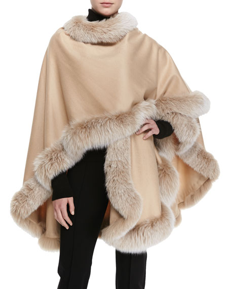 Frosted Fox Fur-Trimmed Cashmere U-Cape, Blonde