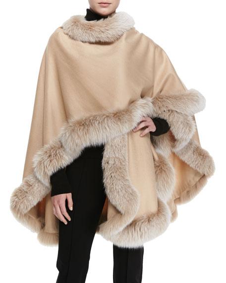 Frosted Fox Fur-Trimmed Cashmere U-Cape, Blonde