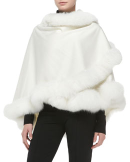 Fox Fur-Trimmed Cashmere Petite U-Cape, White