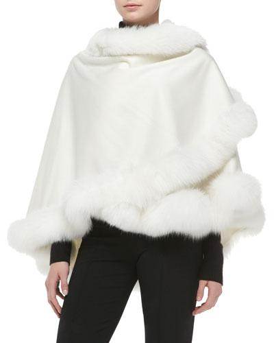 Fox Fur-Trimmed Cashmere Petite U-Cape, White