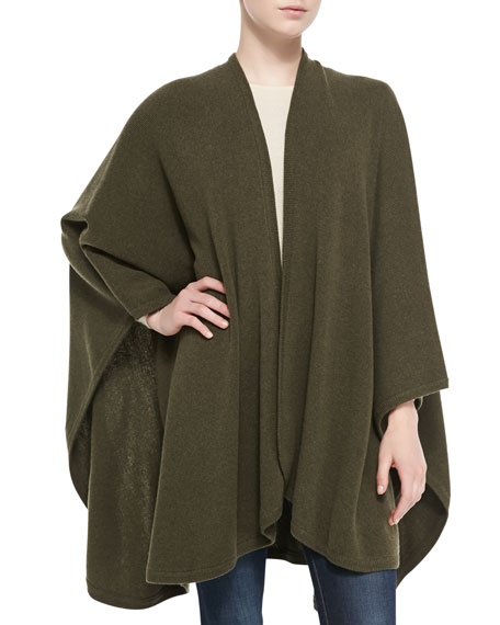 Cashmere Rib Knit-Trim U-Cape, Loden Green