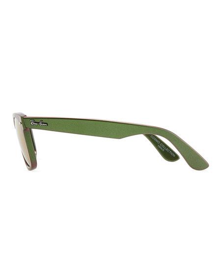 Wayfarer Sunglasses with Mirrored Lenses, Iridescent Green
