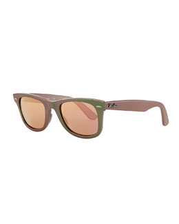 Ray-Ban Wayfarer Sunglasses with Mirrored Lenses, Iridescent Green