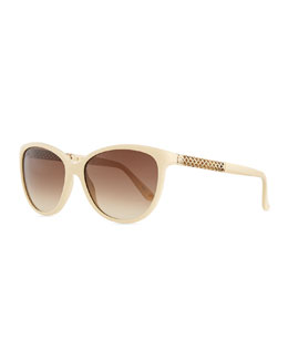 Modified Cat-Eye Sunglasses, Ivory