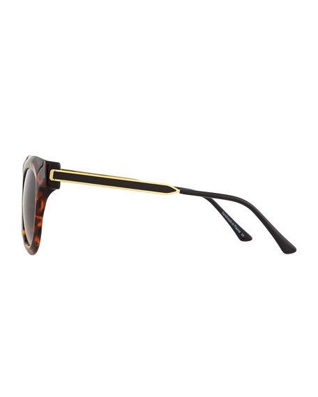 Sunglasses with Metal Arms, Brown Tortoise